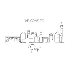 Single continuous line drawing porto city vector