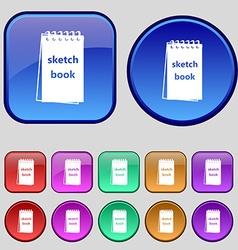 Sketchbook icon sign A set of twelve vintage vector