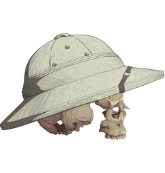 skull in cork helmet vector image