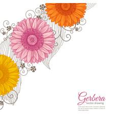 Summer background with gerbera vector