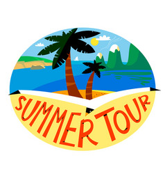 Summer beach background tropical landscape with vector