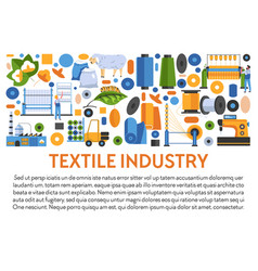 Textile industry banner with fabrics manufacturing vector