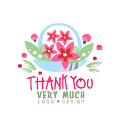 Thank you very much logo design holiday card vector