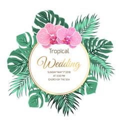 Tropical wedding invitation orchid jungle greenery vector