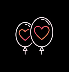 two balloons with heart colorful linear vector image