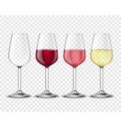 Wineglasses Alcohol Drinks Set Transparent Poster vector image