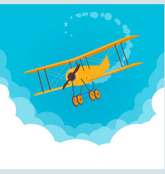 yellow airplane flying in a blue sky vector image