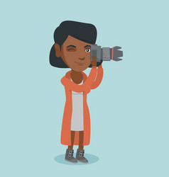 Young african-american photographer taking a photo vector