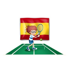 A boy playing tennis in front of the flag of Spain vector image vector image