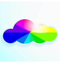 cloud with rainbow and stars vector image