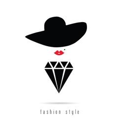 Diamond girl icon fashion style vector