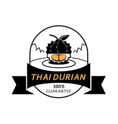 golden thai durian meat gaurantee logo vector image vector image