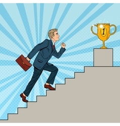 Pop Art Businessman Walking Up Stairs to Cup vector image