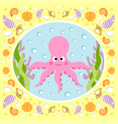 sea background card with octopus vector image vector image