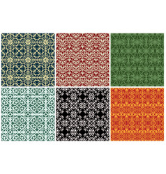 six different antique wrought iron wallpaper vector image