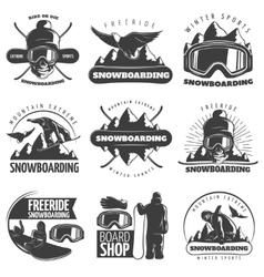 Snowboarding Emblem Set vector image vector image