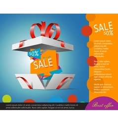Special offer in a gift box Gift coupon vector image vector image