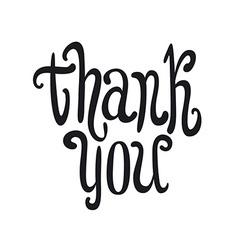 Thank you handwritten dark brush pen lettering vector image