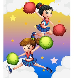 Two cheerdancers vector image vector image