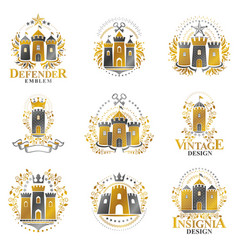 ancient castles emblems set heraldic coat of arms vector image