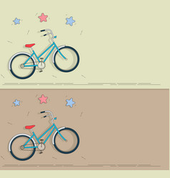 bike in cartoon style set banners on the theme vector image vector image