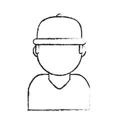 blurred silhouette cartoon half body faceless man vector image