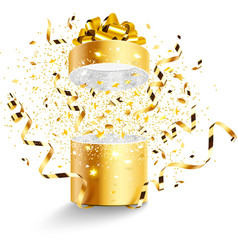 Golden gift isolated vector image vector image
