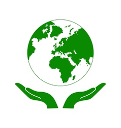 Hands Holding The Green Earth Globe vector image vector image