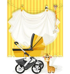 Baby shower yellow card vector image vector image