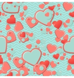 Blue scrapbook paper hearts with circles and vector