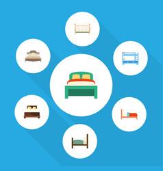 Flat bedroom set of bunk bed bed mattress and vector