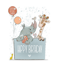 little lovely rhino with giraffe mouse and birds vector image vector image