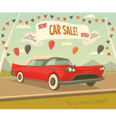 Retro car sale vector