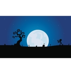 Scenery zombie and tomb silhouette with moon vector image