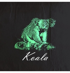 vintage of a green koala bear on the old bla vector image vector image