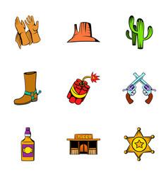 cowboy icons set cartoon style vector image vector image