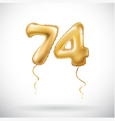 golden number 74 seventy four metallic balloon vector image vector image