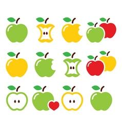 Green and yellow apple apple core bitten half vector image