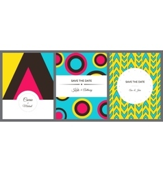Set of colorful invitation cards vector image vector image