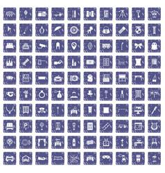 100 mirror icons set grunge sapphire vector