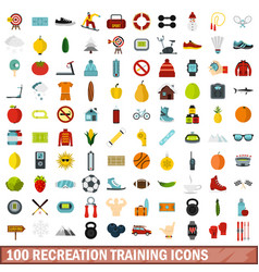 100 recreation training icons set flat style vector image