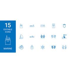 15 marine icons vector