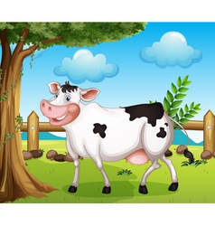A cow in the backyard vector