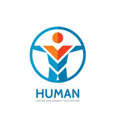 abstract human character - concept business logo vector image