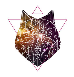 Abstract polygonal tirangle animal wolf vector
