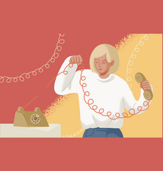 Adorable blonde woman holding telephone handset vector
