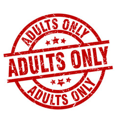 Adults only round red grunge stamp vector