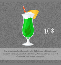 Alcoholic mint cocktail card template vector
