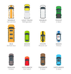 Automobiles collection with names on white vector
