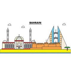 Bahrain outline city skyline linear vector